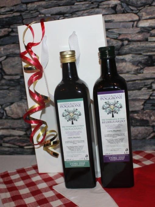 Matgave med økologisk ekstra jomfru olivenolje - Poggione - Hvit gavepose