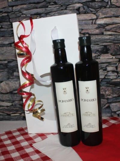 Matgave med økologisk ekstra jomfru olivenolje - Pomario - Hvit gavepose
