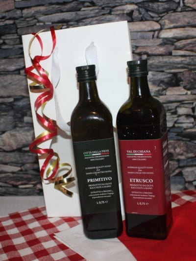 Matgave med kaldpresset ekstra jomfru olivenolje - Umbro - Hvit gavepose